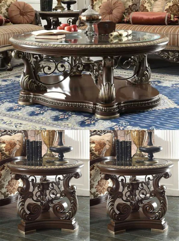 Traditioneller Couchtisch Set 3 PCS in Brown Wood Traditional Style.