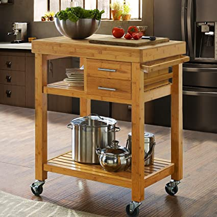 Amazon.com: Clevr Rolling Bamboo Wood Kücheninsel Cart Trolley.